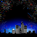 Fireworks. Multi-storey buildings. Stock Image