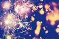 Fireworks at New Year and copy space abstract holiday background. Brightly Colorful Fireworks on twilight background with free