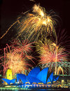Fireworks new year s eve on sydney harbour australia Royalty Free Stock Photos