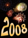 Fireworks and new year text 3 Royalty Free Stock Images