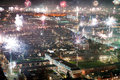 Fireworks on new years eve as seen from a meters high building in the center of enschede in the netherlands Stock Image