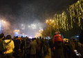 Fireworks on new years eve in bucharest romania january Royalty Free Stock Image