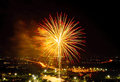 Fireworks on night city background Royalty Free Stock Photo