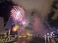 Fireworks At Night Over Singapore Marina Barrage Stock Image