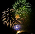 Fireworks night ovet city buildings Royalty Free Stock Images