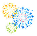 Fireworks origami shaped from flying birds Royalty Free Stock Image