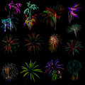 Fireworks out of focus samples different Royalty Free Stock Photo