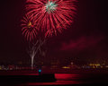 Fireworks over aberdeen harbour uk a guy fawkes rememberance occassion Stock Photography