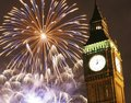 Fireworks over big ben at midnight london uk january in westminster one of london s main tourist attractions be seen from the Stock Photos