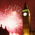Fireworks over big ben at midnight new years eve Royalty Free Stock Images