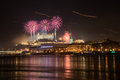 Fireworks over bratislava celebration of new year in Royalty Free Stock Photos