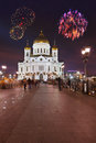 Fireworks over cathedral of christ the savior in moscow russia Royalty Free Stock Photo