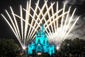 Fireworks over cinderella castle wishes the at the end of the night fan out behind Royalty Free Stock Photo