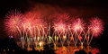 Fireworks over the city of annecy in france for the annecy lake party Royalty Free Stock Photos