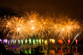 Fireworks over the city of annecy in france for the annecy lake party Royalty Free Stock Images