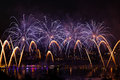 Fireworks over the city of annecy in france for the annecy lake party Stock Photography