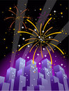 Fireworks over a city skyline in vertical format #2 Royalty Free Stock Photos