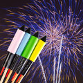 Fireworks over dark sky Royalty Free Stock Photography