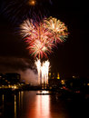 Fireworks over harbour Stock Images