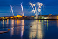 Fireworks over King John Castle in Limerick Stock Images