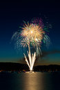 Fireworks over Lake Royalty Free Stock Photo
