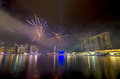Fireworks over Marina Bay during Singapore National Day Parade 2012 Combined Rehearsal Royalty Free Stock Photo