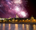 Fireworks over the Moscow Kremlin and the Moscow river. Moscow, Russia