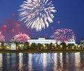 Fireworks over the Moscow Kremlin and the Moscow river. Moscow, Russia Royalty Free Stock Photo