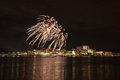 Fireworks over potomac river the in the washington dc metropolitan area with the national harbor skyline in the background Stock Images