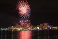 Fireworks over potomac river the in the washington dc metropolitan area with the national harbor skyline in the background Royalty Free Stock Photos