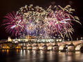 Fireworks over prague castle panorama of and charles bridge at night Royalty Free Stock Images