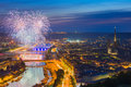 Fireworks over rouen in a summer night Royalty Free Stock Photo