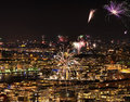 Fireworks over stockholm and djurgarden during new year Stock Photography