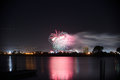 Fireworks over the water Royalty Free Stock Photo
