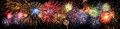 Fireworks in Panoramic View Royalty Free Stock Photo