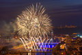 Fireworks in rouen at a summer night over the sena the city of Stock Photos