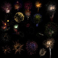 Fireworks samples different isolated over a dark background Stock Photo
