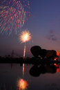 Fireworks show and balloons in the night at Thailand. Royalty Free Stock Photography