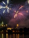 Fireworks show by the wawel castle over vistula river krakow poland Royalty Free Stock Photo