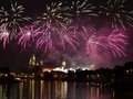 Fireworks show by the wawel castle over vistula river krakow poland Stock Photos
