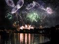Fireworks show by the wawel castle over vistula river krakow poland Stock Photography