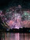 Fireworks show by the wawel castle over vistula river krakow poland Stock Photo