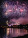 Fireworks show by the wawel castle over vistula river krakow poland Stock Image