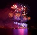 Fireworks singapore sports hub at the to mark the one year countdown to the sea games Royalty Free Stock Images