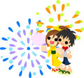 Fireworks in summer festival a boy and girl seeing the the night sky the Royalty Free Stock Photo
