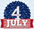 Fireworks for 4th of July Celebration, Vector Illustration Royalty Free Stock Photo