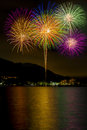 Fireworks there is also a symbol of celebrations is summer tradition in japan it is the seen from the shores Royalty Free Stock Image