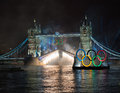 Fireworks at Tower Bridge: London 2012 Olympics Royalty Free Stock Images