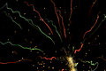 Fireworks trails champagne colors Royalty Free Stock Photo