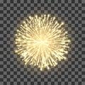 Fireworks on transparent background. Festival gold firework. Vector llustration Royalty Free Stock Photo